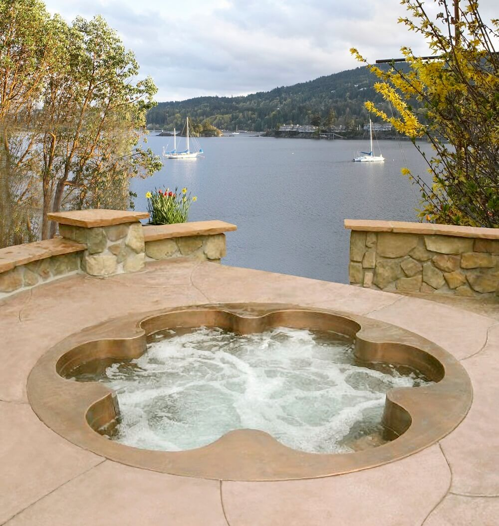 Custom Copper Flower Shaped Spa with 6 Individual Bucket Seats 84
